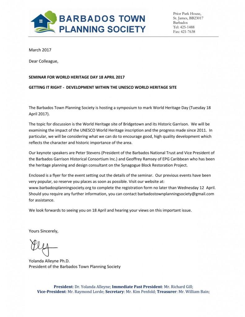 BTPS Letter of Invitation to Heritage Seminar 2017