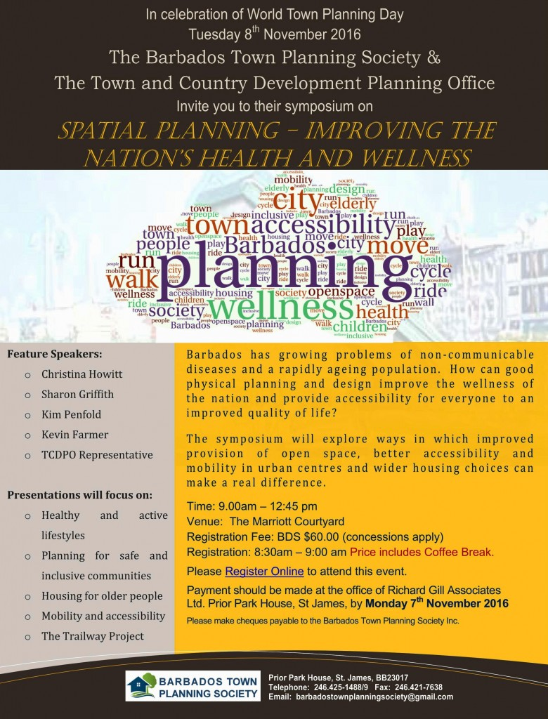 Spatial Planning, Health and Wellness Symposium Flyer 2016
