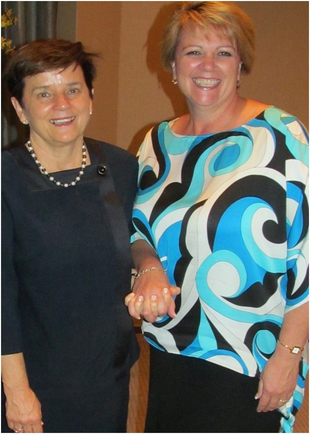 Christine Platt (left)  handing over CAP Presidency to Dyan Currie  (Right)